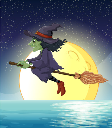 ilustration: Ilustration of a witch flying at night