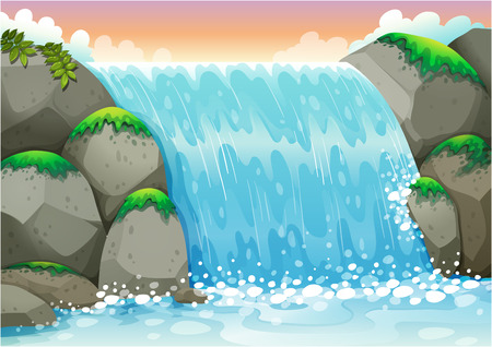 waterfall river: Illustration of a waterfall