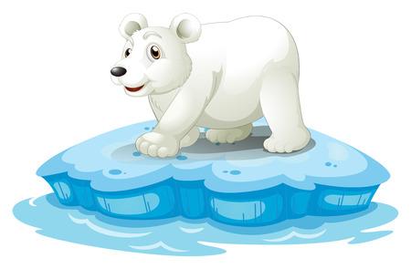 northpole: Illustratie van een ijsbeer op iceberge