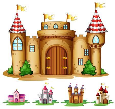 城のセットのイラスト