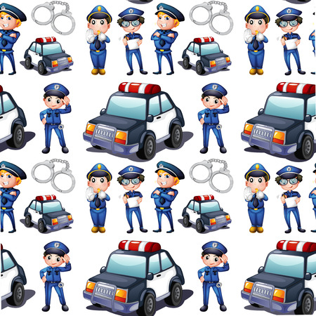 Illustration of a seamless design with policemen and patrol cars on a white background