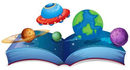 milkyway: Illustratie van een boek met planeten en UFO op een witte achtergrond