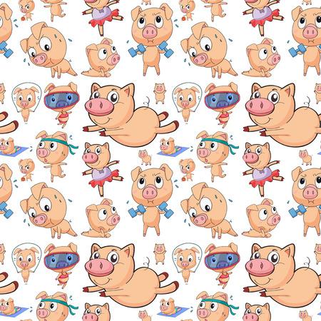 cerdo caricatura: Ilustraci�n de diferentes acciones cerdos