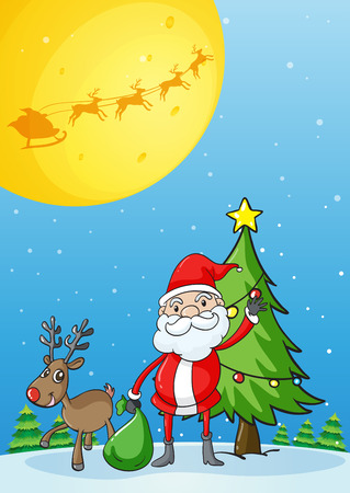 Illustration of Santa with his reindeer Vector