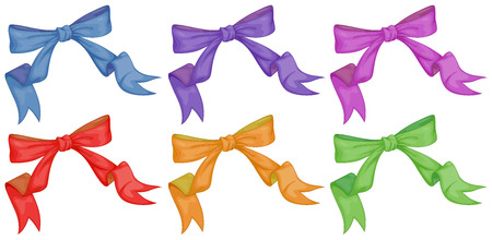 hairclip: Illustration of the colourful bows on a white background