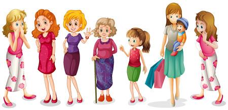 白い背景の上のすべての年齢の女の子のイラスト