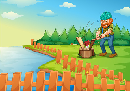 Illustration of a lumberjack chopping wood Vector