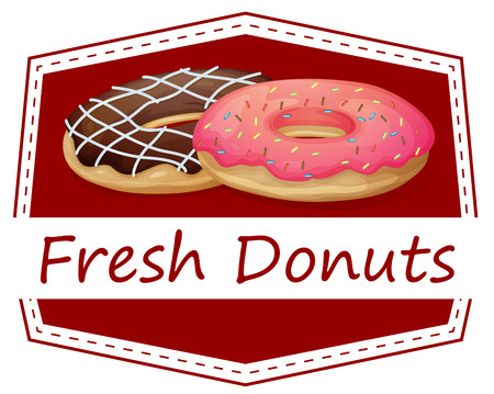 Illustration of a food with a fresh donuts label on a white background Vector