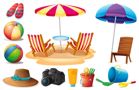 cartoon wood bucket: Illustration of the things found at the beach during summer on a white background