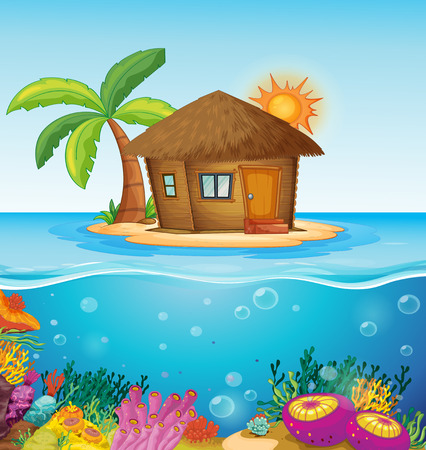 Illustration of a house on a desert island Illustration