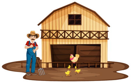 Illustration of a man standing in front of the wooden barnhouse on a white background Vector