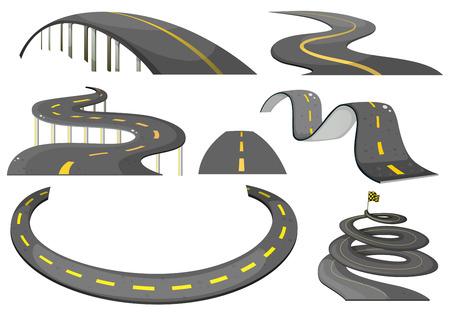 dibujos lineales: Ilustraci�n de un conjunto de caminos Vectores