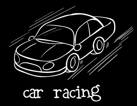 contingent: Illustration of a car racing on a black background