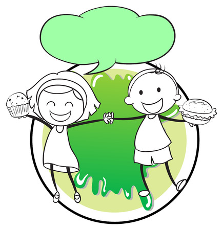 Illustration of a girl and a boy with an empty callout template on a white background Vector