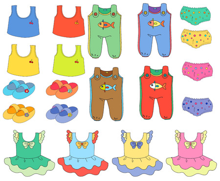 Illustration of a set of children clothes