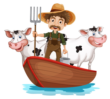 Illustration of a boat with a man and two cows on a white background