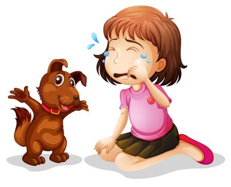 sad dog: Illustration of a little girl crying on a white background