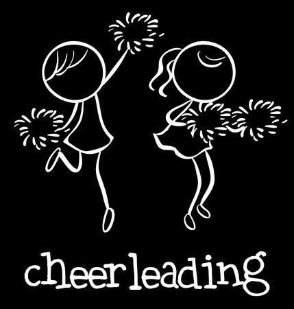 cheerleading: Illustration of girl cheerleaders dancing Illustration