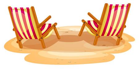Illustration des deux chaises de plage sur un fond blanc