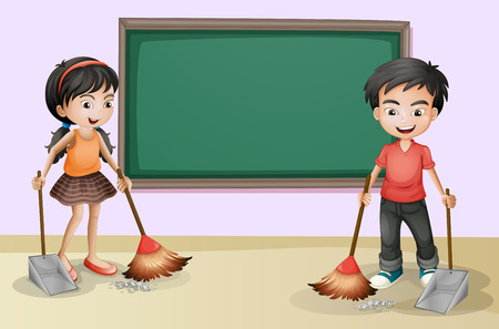 Illustration of the kids cleaning near the empty board Vector