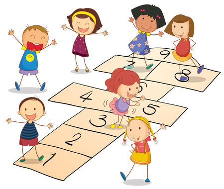 numero nueve: Ilustración de los niños jugando en un fondo blanco