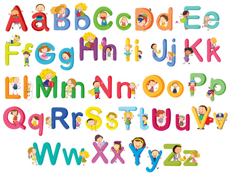 u  k: Illustration of the letters of the alphabet on a white background Illustration