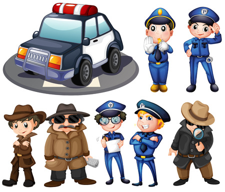 private investigator: Illustration of police and detectives