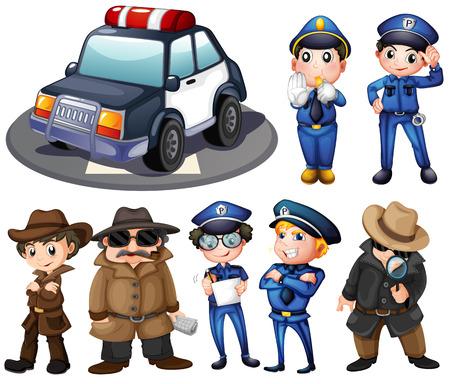 gorra policía: Ilustración de policía y detectives Vectores