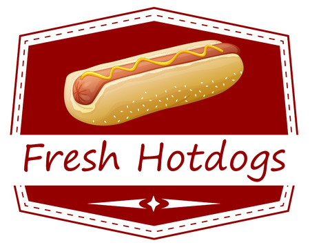 labelling: Illustration of a fresh hotdog label on a white background