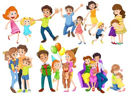 Illustration of the happy families on a white background Illusztráció