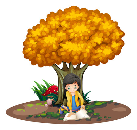 under tree: Illustration of a girl reading under the tree on a white background