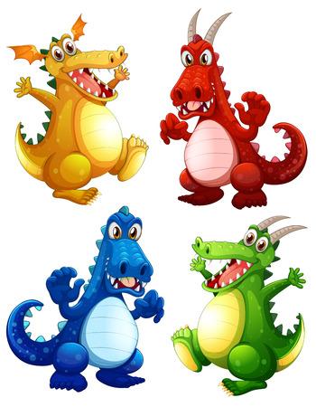 set series: Illustration of a set of dragons Illustration