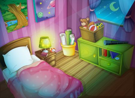 bed sheets: Illustration of a bedroom at night Illustration