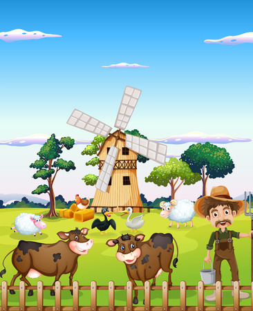 Illustration of a farmer with the farm animals