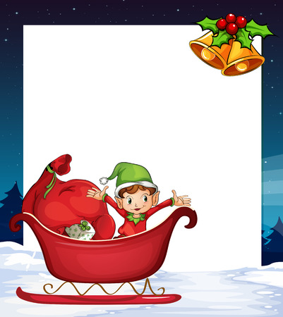 Illustration of a banner with elf and christmas background Vector