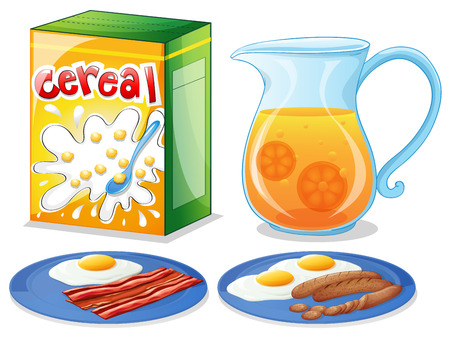cereal box: Illustration of the breakfast foods on a white background