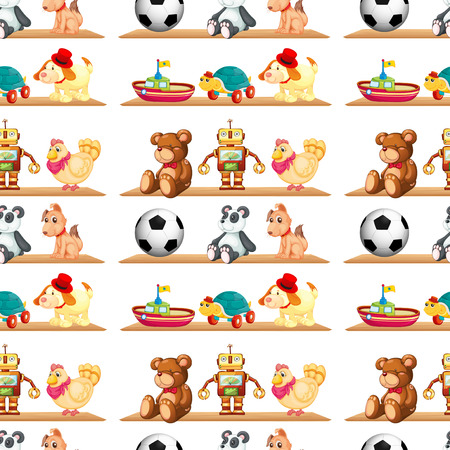 Illustration of different toys on a shelf Vector
