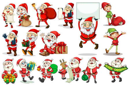Illustration of different actions of santa Stock Illustratie