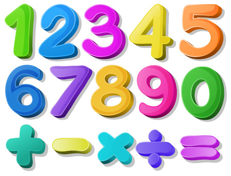 plus minus: Illustration of multicolored number Illustration