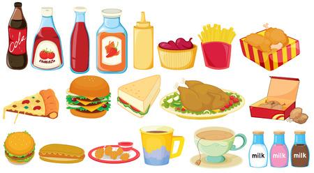 흰색 배경에 스낵 식품의 그림