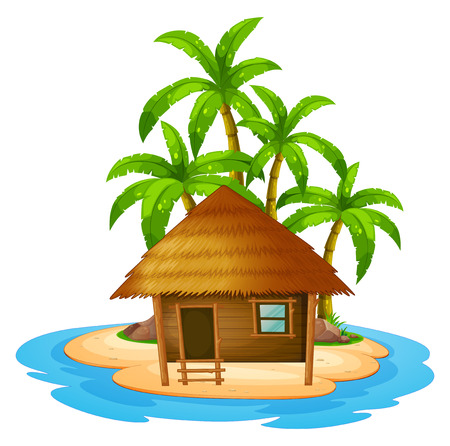white sand beach: Illustration of a small house in the island on a white background