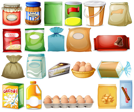 bread and butter: Illustration of a set of foods on a white background Illustration