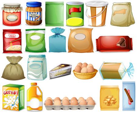 Ilustración de un conjunto de alimentos sobre un fondo blanco Ilustración de vector
