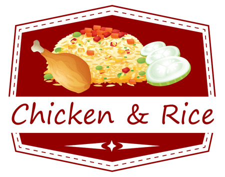 Illustration of a food with a chicken and rice label on a white background