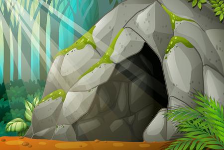 Ilustración de una cueva