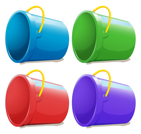 many coloured: Illustration of the four empty pails on a white background Illustration