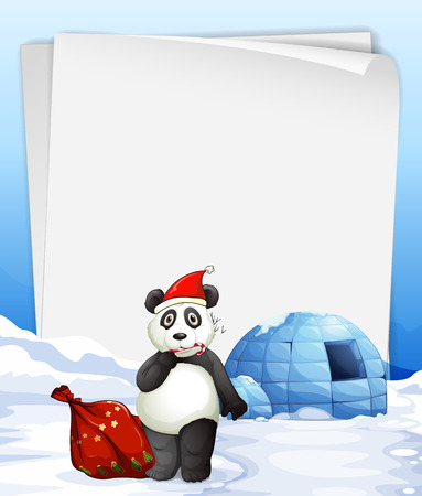 Illustration of a banner with panda and igloo Vector