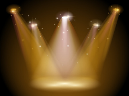 Illustration of a stage with bright spotlight