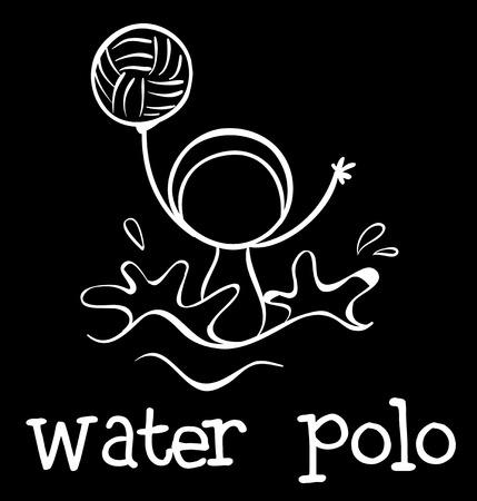 waterpolo: Ilustración de un deporte de polo acuático en un fondo negro Vectores