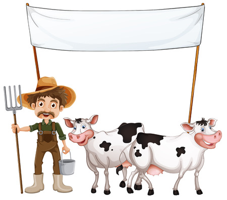 milking: Illustration of a farmer and his cows near the empty banner on a white background